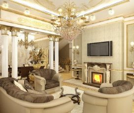 Гостиная с камином. Дизайн в классическом стиле