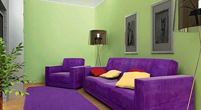 Зеленый и фиолетовый цвета в интерьере 2